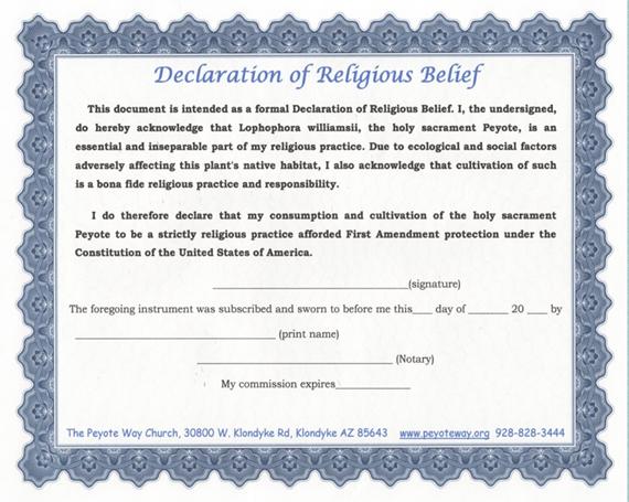 the peyote way church of god doctrine declaration of religious