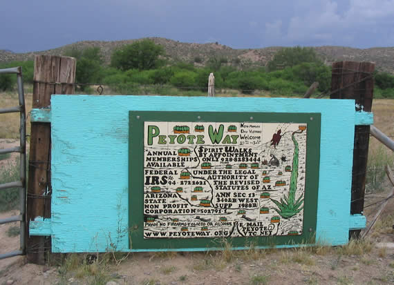 sign at the entrance to the Peyote Way Church